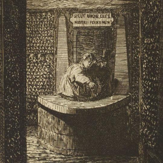 Gravure de la fontaine de la Samaritaine dans les catacombes de Paris